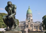 "One of the few original cast-made copies of Rodin's famous sculpture ""The Thinker"" in Plaza Moreno, Buenos Aires"