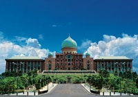 The Perdana Putra in Putrajaya houses the office complex of the Prime Minister of Malaysia