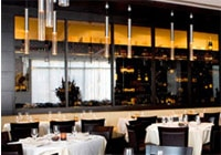 The modern dining room at Bice Ristorante in San Diego