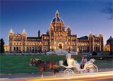 A horse-drawn carriage ride in front of the British Columbia Parliament Buildings in Victoria, Canada