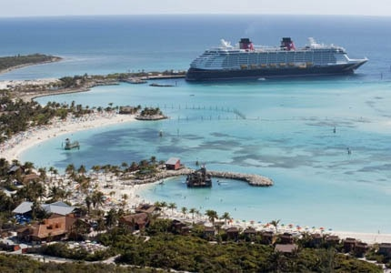 The Disney Dream at the cruise line's own private island Castaway Cay