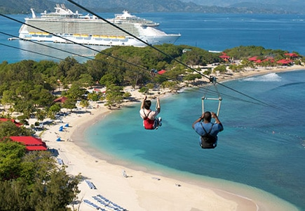 Zipline on Dragon's Breath Flight Line on Adrenaline Beach in Labadee