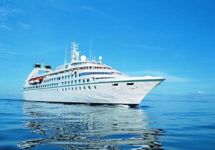 A Windstar Cruises ship at sea