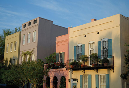 Rainbow Row - the famous row of colorful houses in Charleston