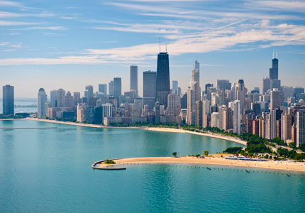 Chicago's impressive skyline rises above the shores of Lake Michigan