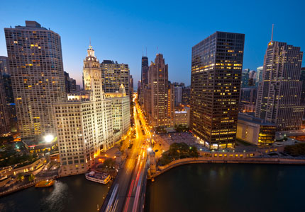 An aerial view of the Magnificent Mile in Chicago, Illinois
