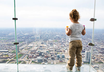 Willis Tower's Skydeck affords views of Chicago and the surrounding area