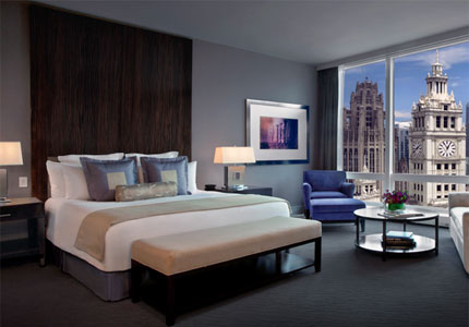 A deluxe guest room at Trump International Hotel & Tower Chicago