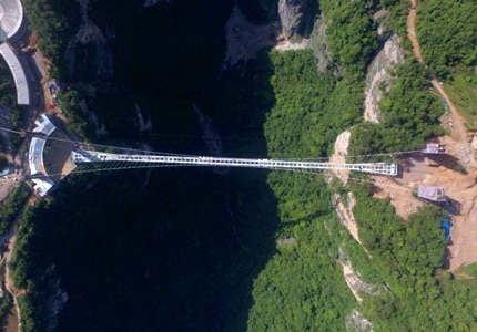 An aerial view of the glass bridge in China, which will open in 2017