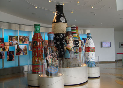 "Giant ""folk art"" bottles in the lobby of The World of Coca-Cola in Atlanta"