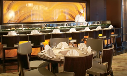 The Sushi Bar on Crystal Cruises features the creative cuisine of chef Nobu Matsuhisa