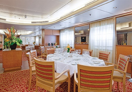 The dining room on The Corinthian, Grand Circle's newest small ship