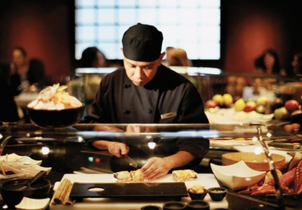 Seishin Restaurant has at its center a chef's table where guests can view the chef at work