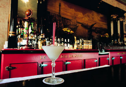 A signature daiquiri cocktail at El Floridita, a 1930s art deco bar and restaurant once frequented by Hemingway
