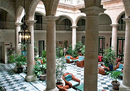 The patio at Hotel Florida in Havana, Cuba