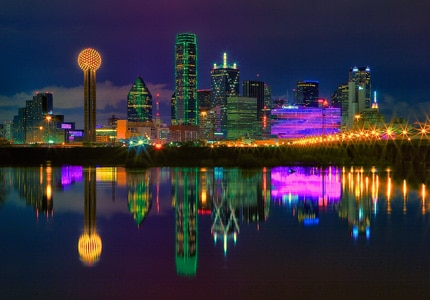Dallas' vibrant nighttime skyline