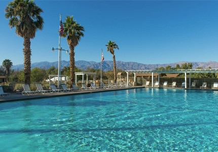 The swimming pool at Furnace Creek Resort in Death Valley, California