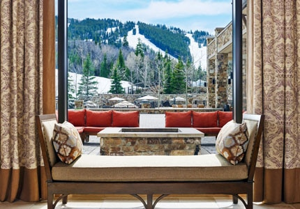 The lobby and view of the slopes at The St. Regis Deer Valley in Park City, Utah