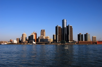 Detroit seen from the Canadian side