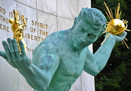 Spirit of Detroit statue located along Woodward Avenue in downtown Detroit