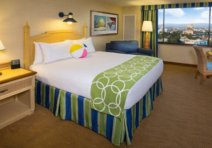 A guest room at Disney's Paradise Pier Hotel in Anaheim, California