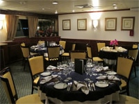 Dining room of Yacht Isabella II in the Galapagos