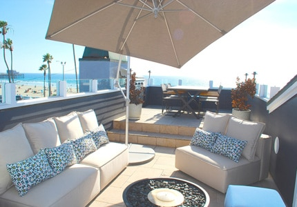 The outdoor deck of a Newport Beach villa in California