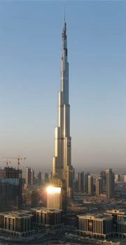 Burj Khalifa, the world's tallest building at 2,723 feet tall, in Dubai, United Arab Emirates