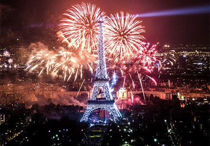 Watch sparks fly over the Eiffel Tower on New Year's Eve in Paris, France