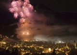 A night of festivities is capped off with a stunning fireworks show on New Year's Eve in Kitzb�hel