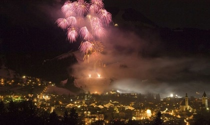 A night of festivities is capped off with a stunning fireworks show on New Year's Eve in Kitzbühel, Austria