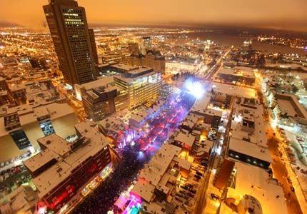 An aerial view of Quebec City on New Year's Eve