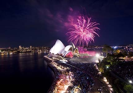 A view of the fireworks over the Sydney Opera House on New Year's Eve