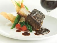 Alberta short ribs, a dish served on the Rocky Mountaineer