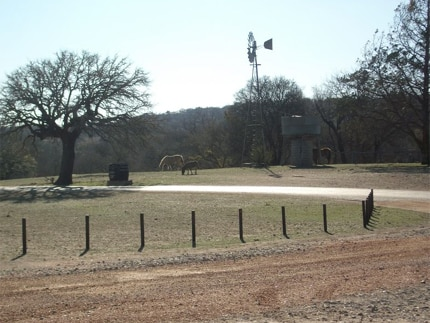 View of the Chisholm Trail Winery's historic landscape in Fredericksburg, Texas