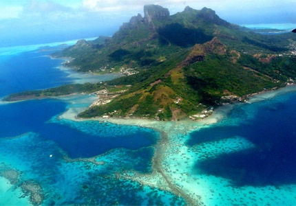 An aerial view of Bora Bora