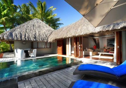 The beach villa swimming pool at Le Meridien Bora Bora