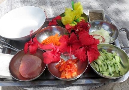 The ingredients for Tahitian raw fish