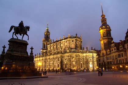 Theaterplatz square with equestrian statue of King Johann of Saxony, Cathedral and Royal Palace in Dresden, Germany