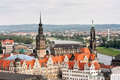A panoramic view of Dresden over the river Elbe