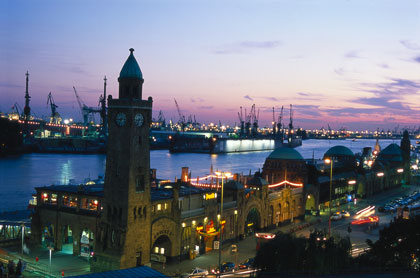 Hamburg's port and jetties in St. Pauli in the evening. The city is know as the Venice of Germany.