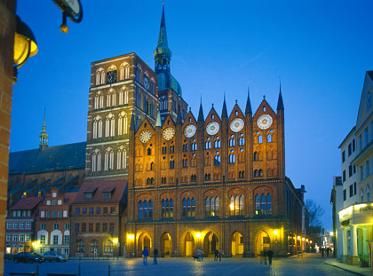 The Northern facade of the town hall and St. Nicholas' Church on Alter Markt square in Stralsund, Germany