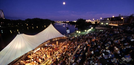 A nighttime festival on the Riverfront