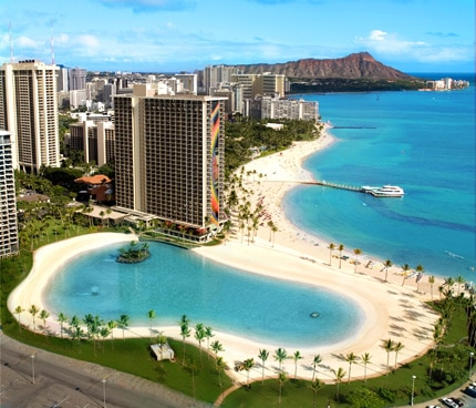 Duke Kahanamoku Lagoon on Waikiki Beach is part of the Hilton Hawaiian Village Waikiki Beach Resort