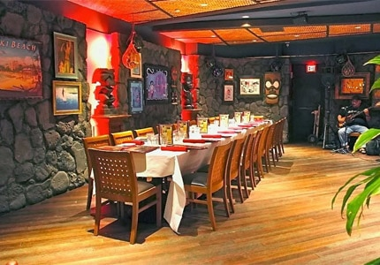 The Lava Tube room at Tiki's Grill & Bar in Honolulu, Hawaii