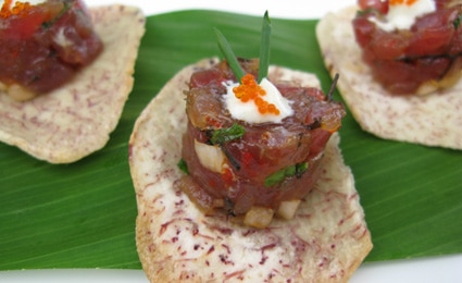 Ahi poke on a taro chip at House Without A Key in the Hotel Halekulani in Hawaii