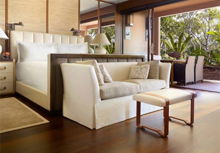 A guestroom at the newly renovated Four Seasons Resort Lana'i in Hawaii
