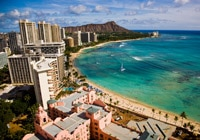The Royal Hawaiian is located on Waikiki's bustling beachfront