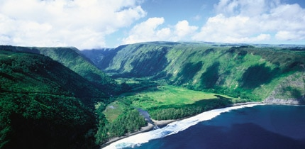 The scenic Waipio Valley provides a glimpse of Old Hawaii on the Big Island