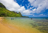 Kauai is known for its stunning beaches, such as Tunnels beach in Hanalei